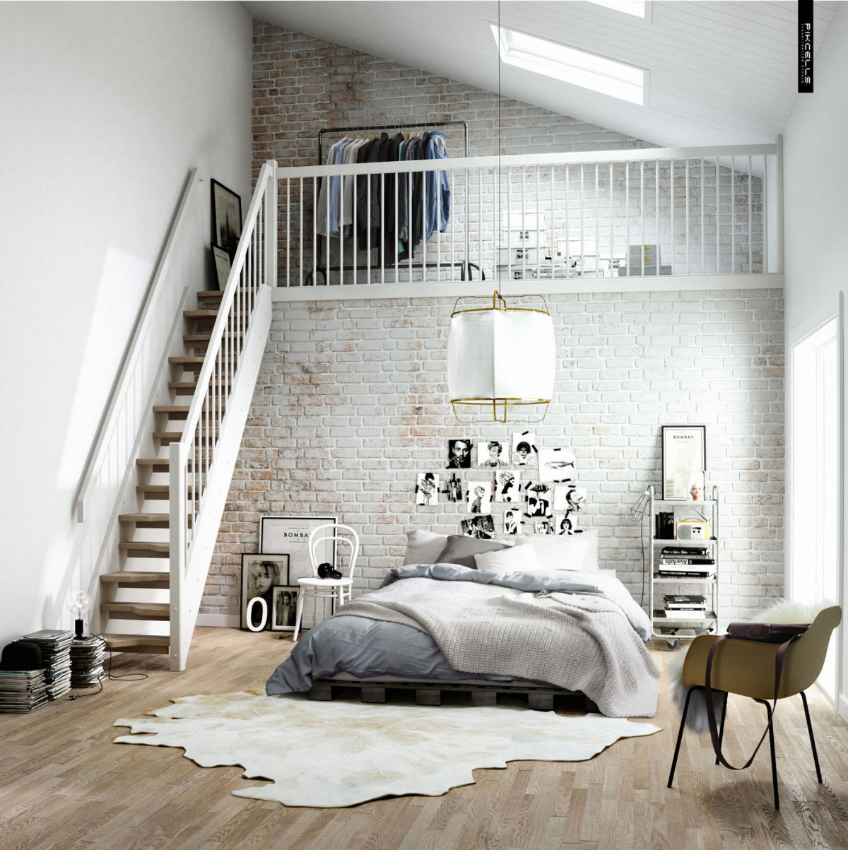 white modern brick bedroom