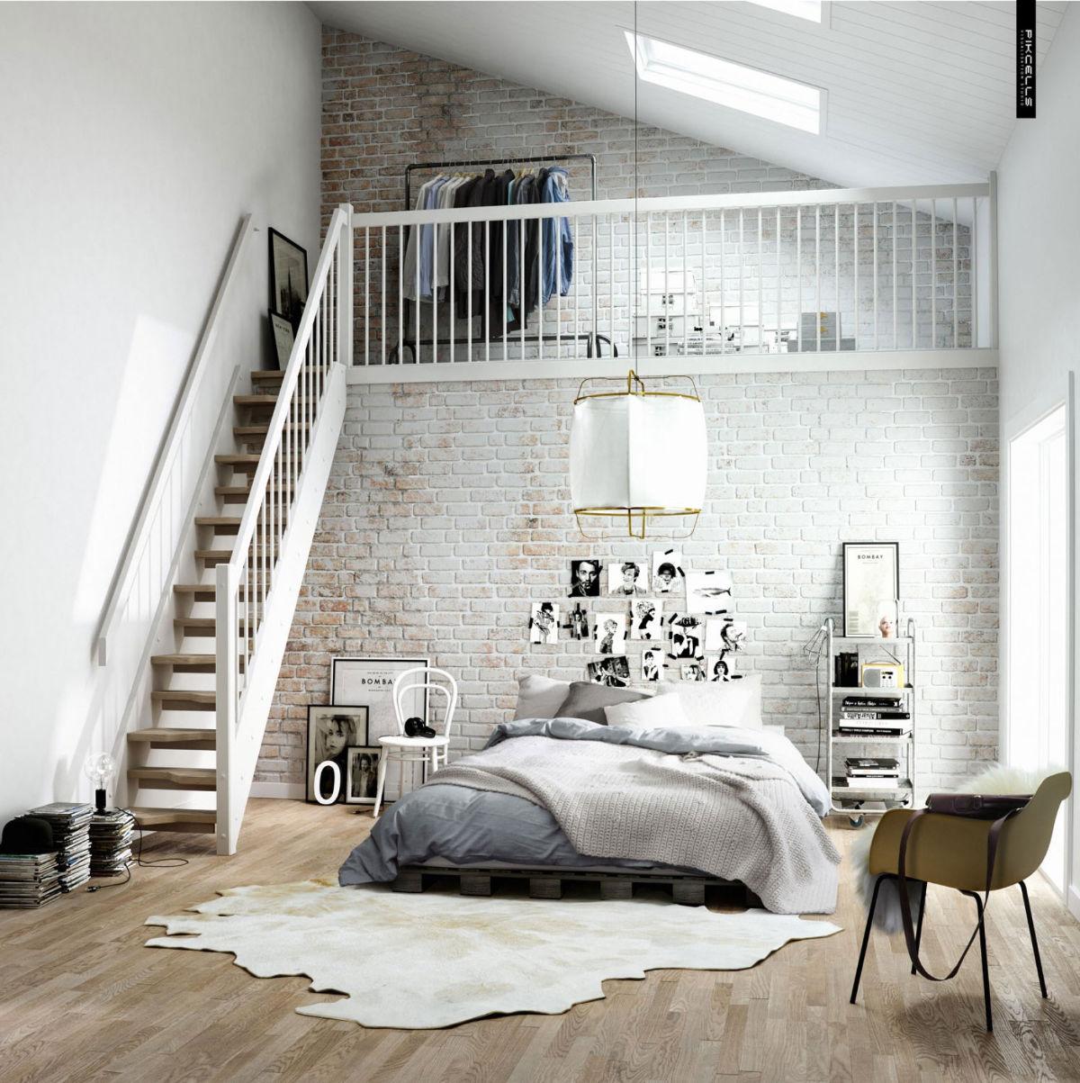 white modern brick bedroom