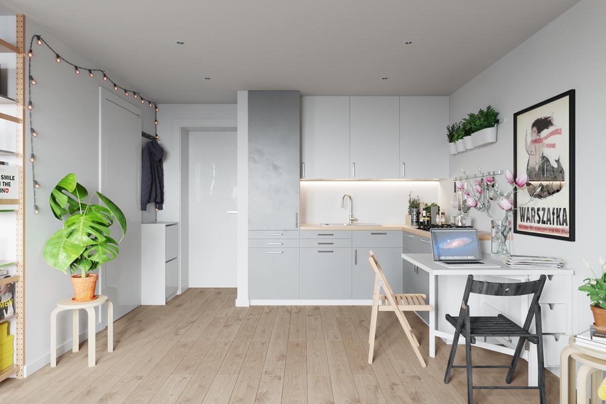 white small Scandinavian kitchen design