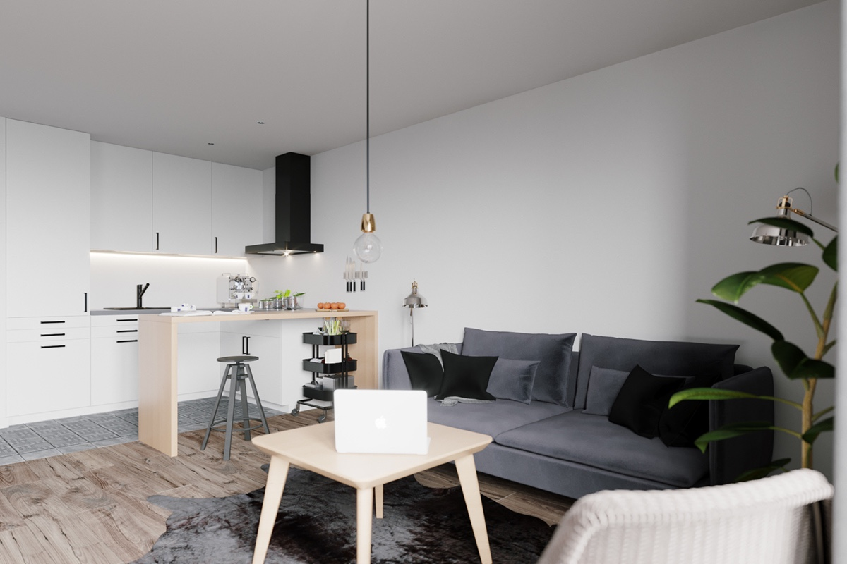 Scandinavian black and white interior