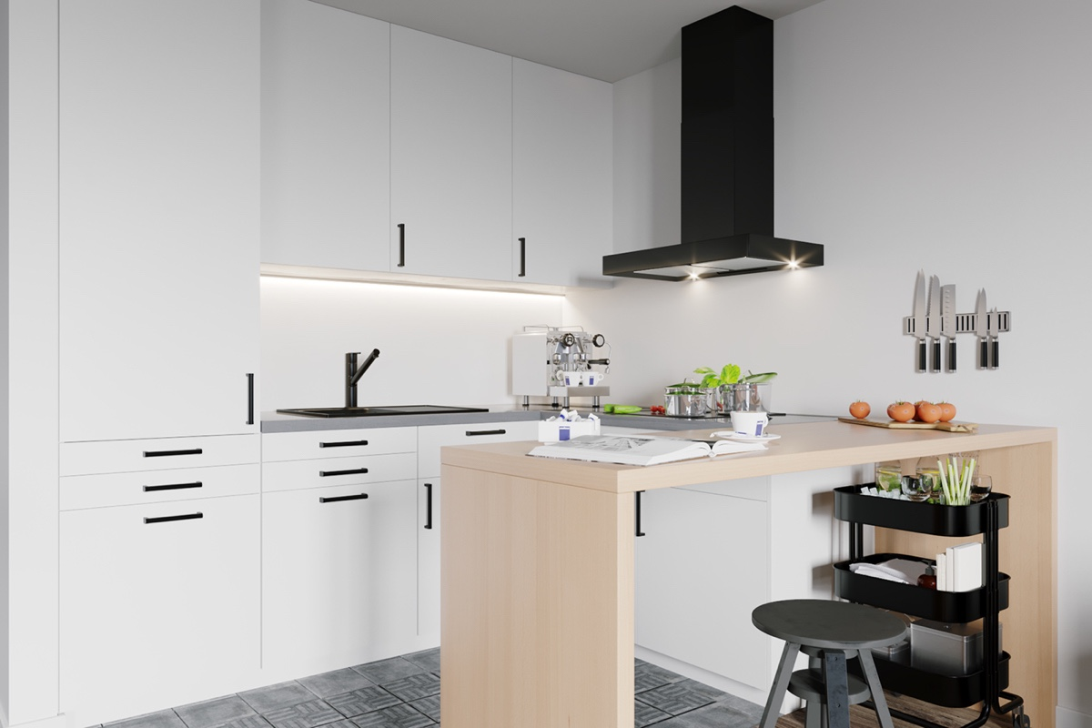 white Scandinavian kitchen set