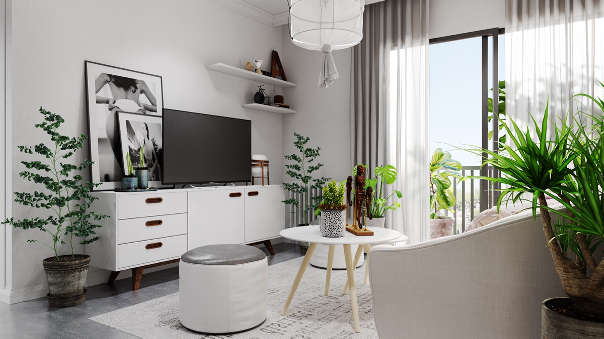 small white living room