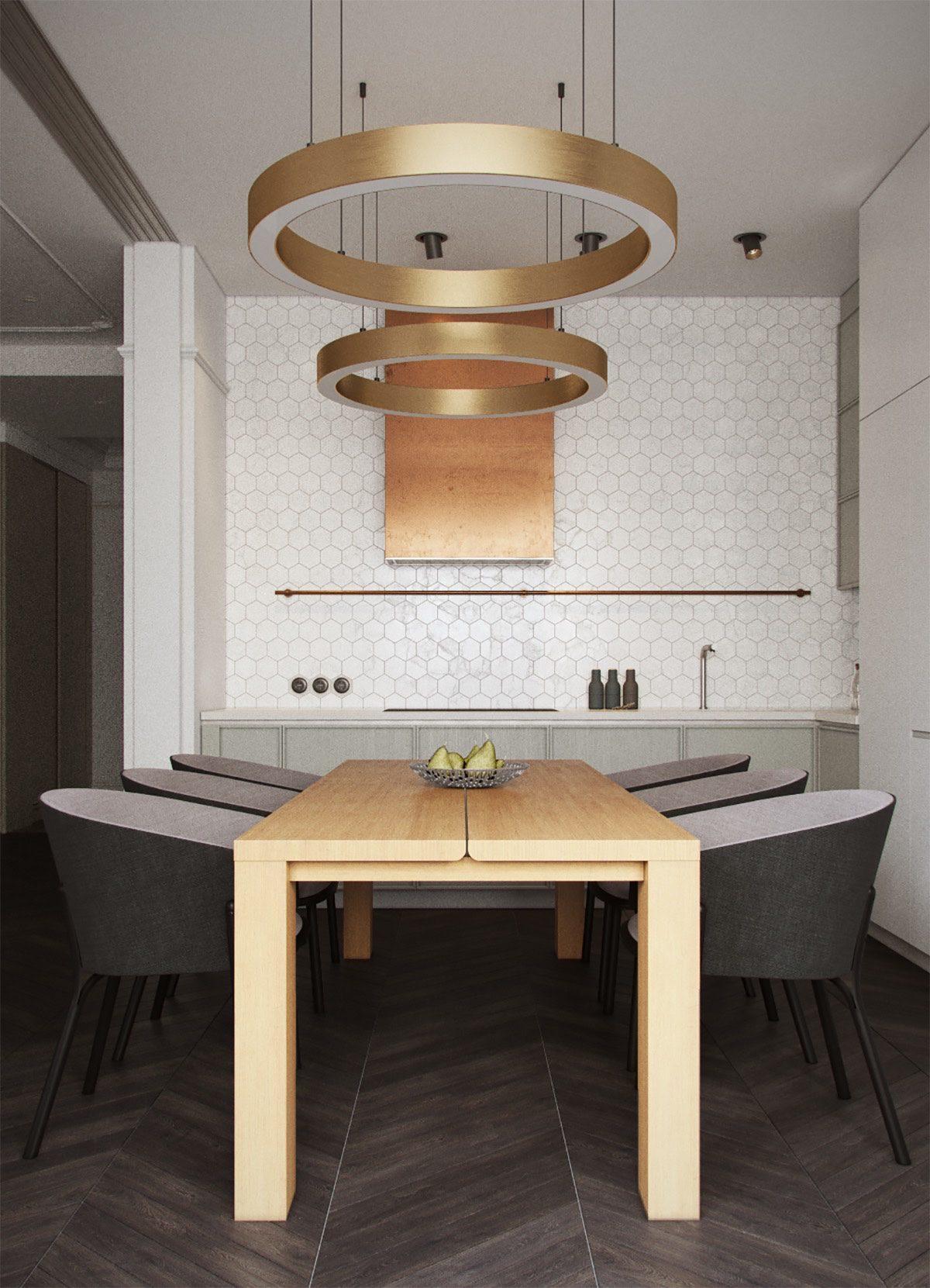 minimalist dining room with ring lighting