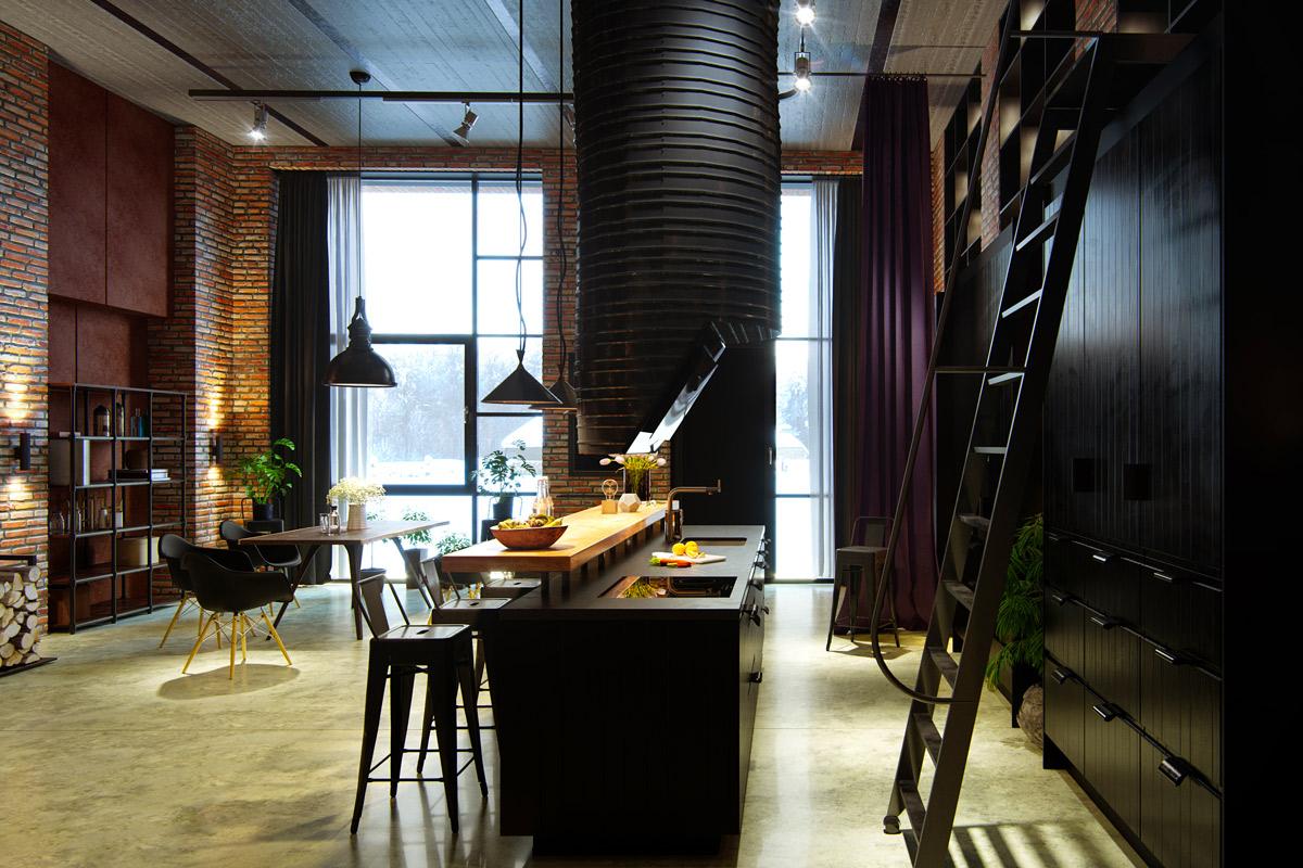 fashionable industrial kitchen design