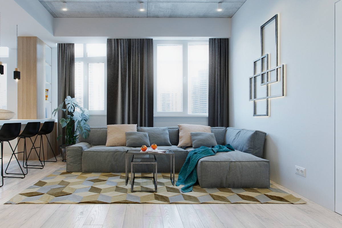 Small modern apartment design applying with a coloring and for Young modern living room