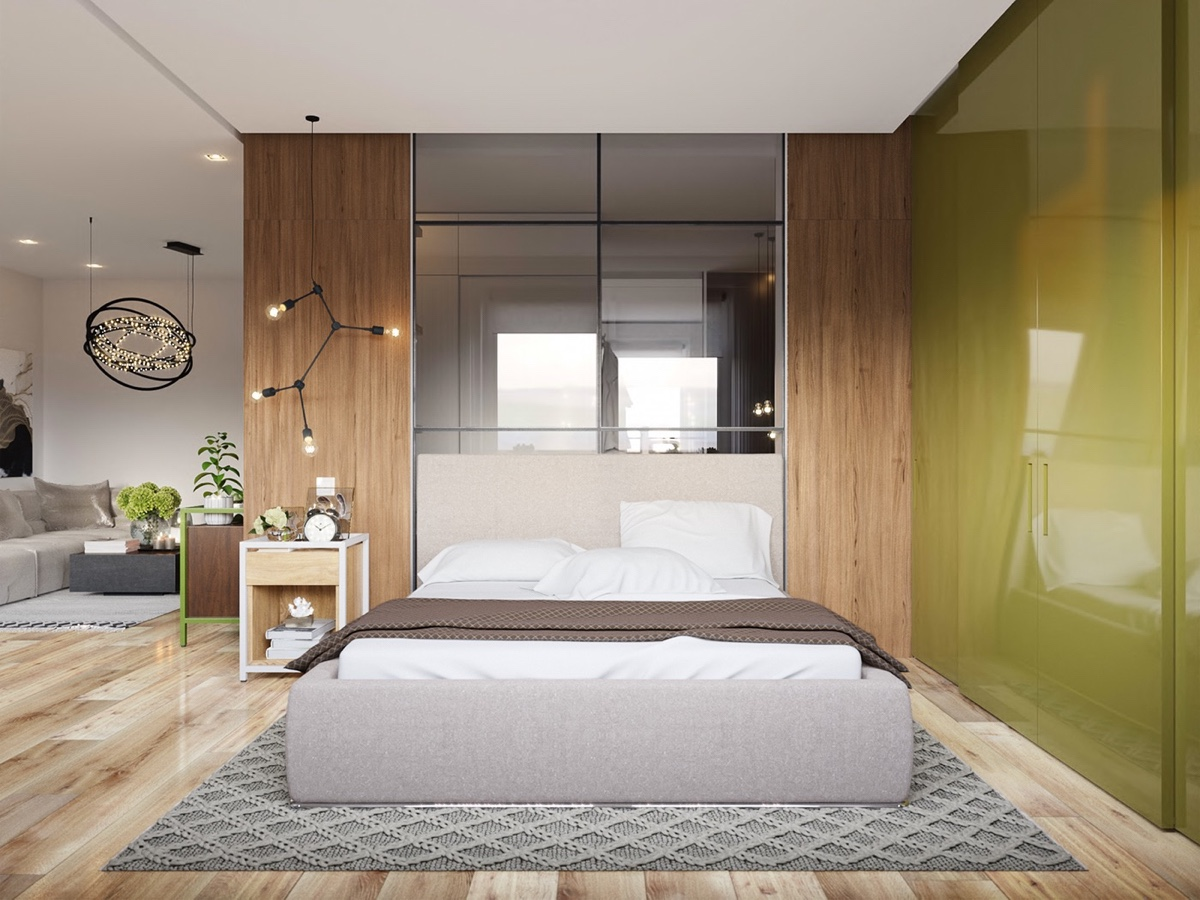 green wooden bedroom decor