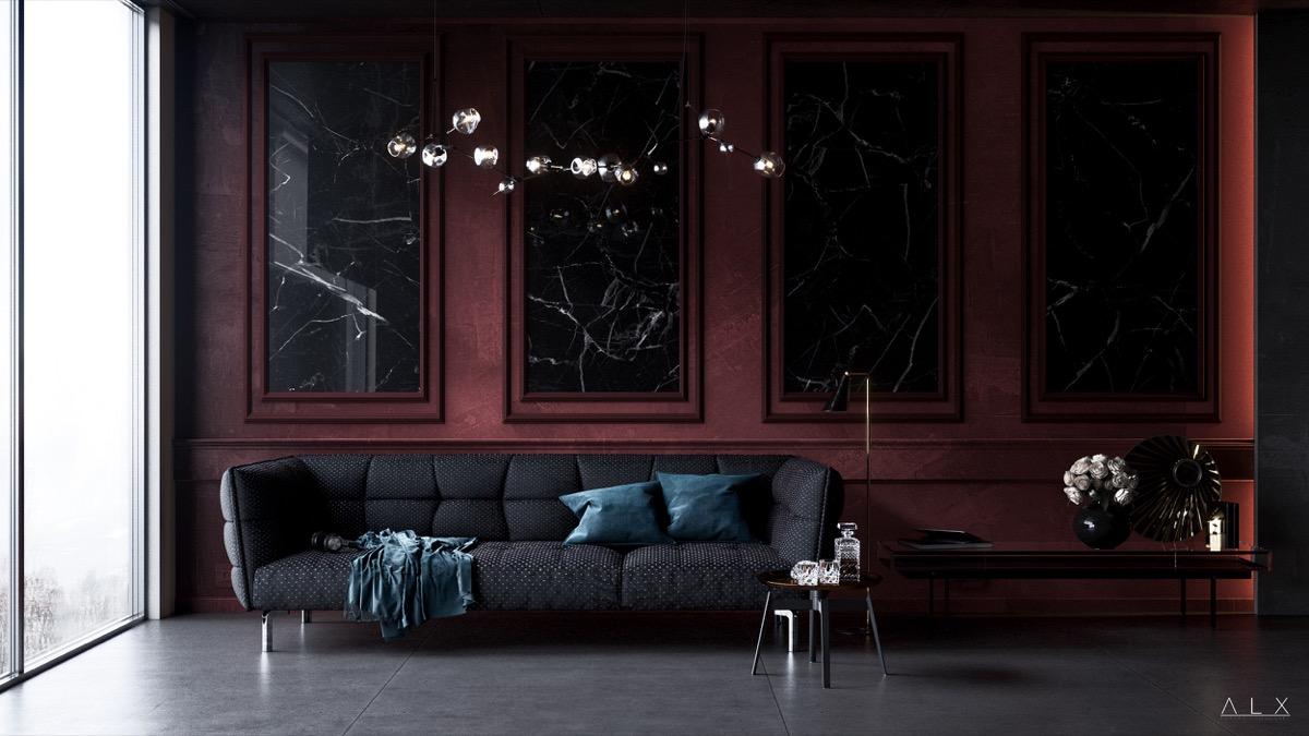 burgundy marble art living room