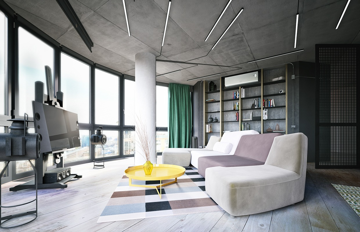 industrial small apartment design attempts to decor with a