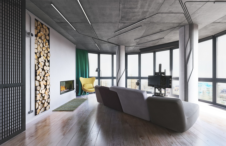 white modern industrial living room