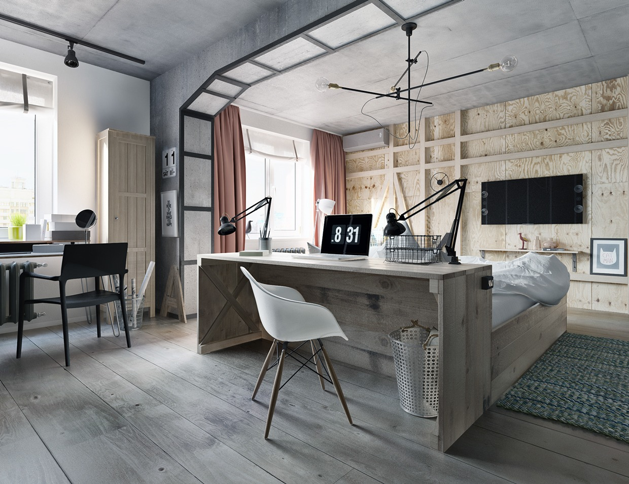 contemporary industrial wooden bedroom