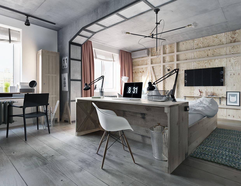 contemporary industrial wooden bedroom