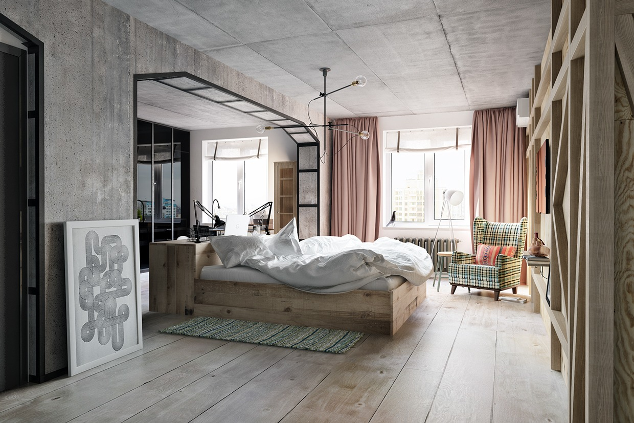 modern industrial bedroom design