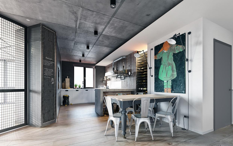 modern industrial kitchen set