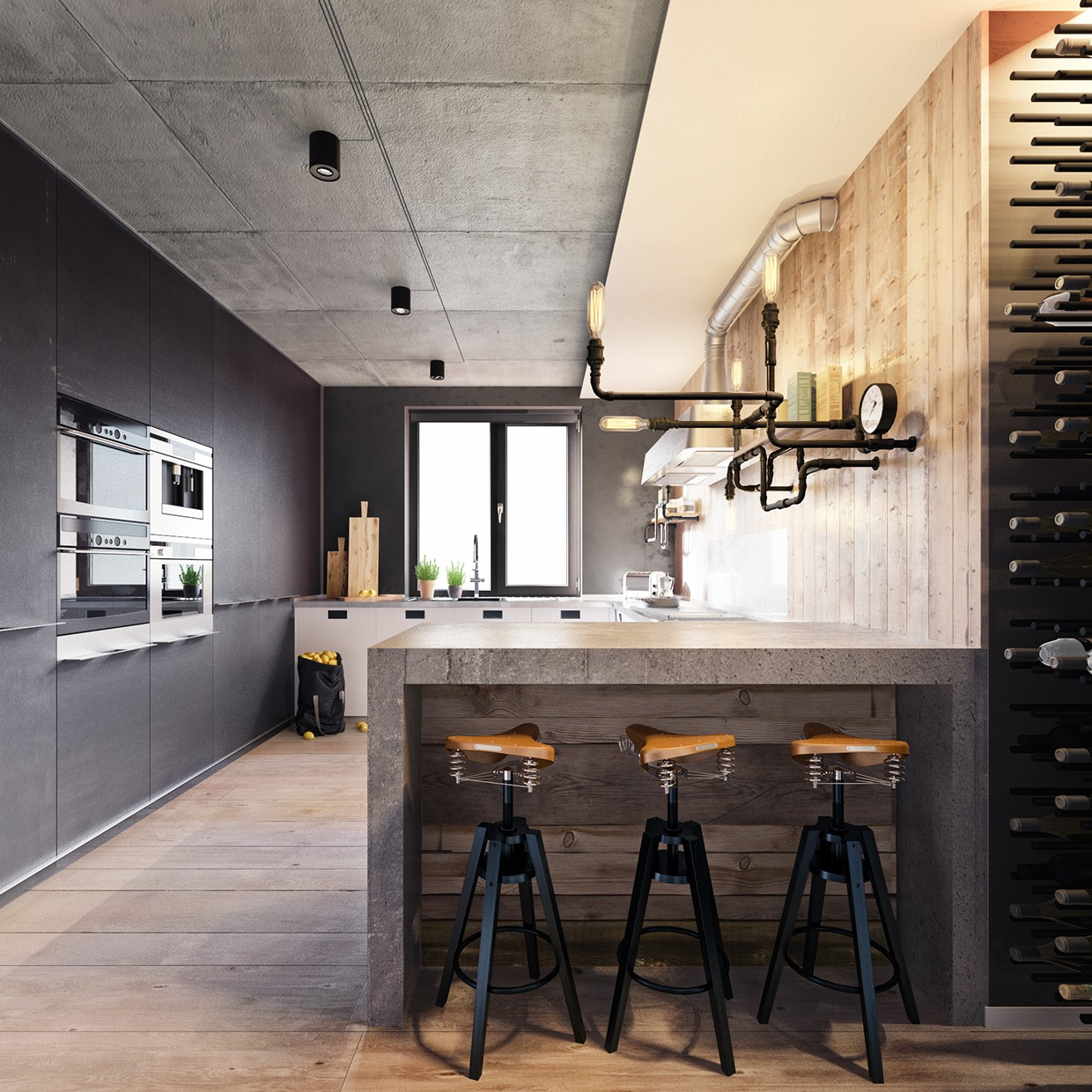 industrial gray kitchen design