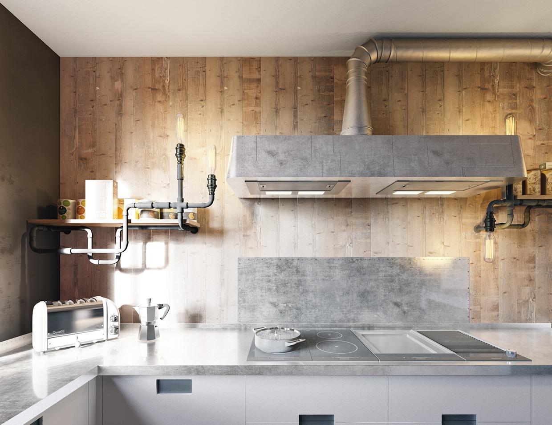 gray wooden kitchen design
