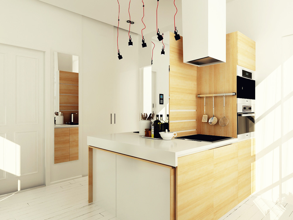 white wooden kitchen design