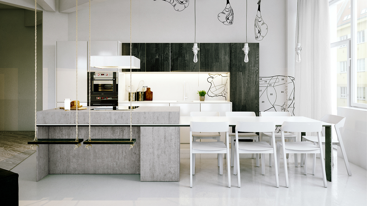 white chic industrial kitchen