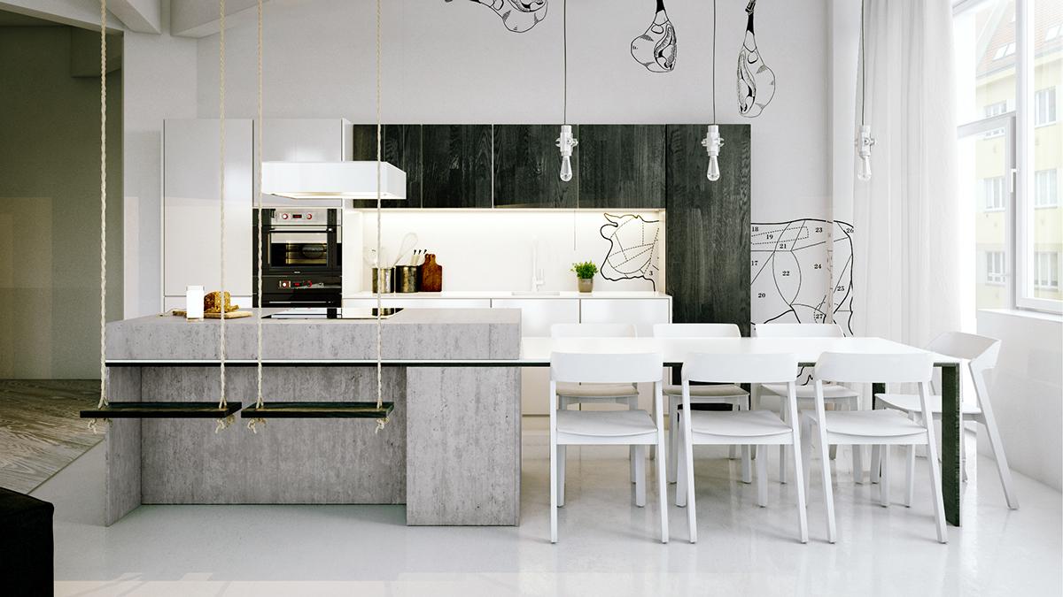 white chic industrial kitchen