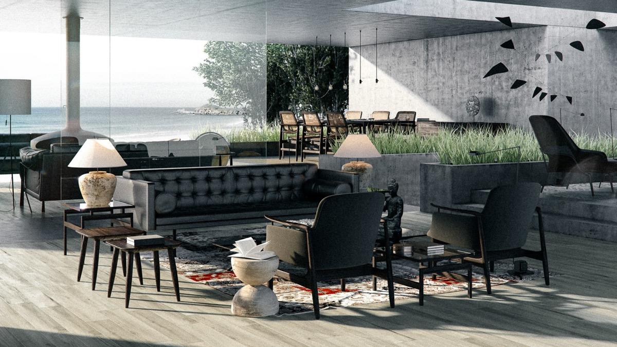 contemporary black living room design