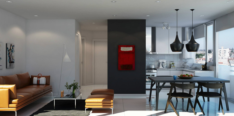 minimalist open plan apartment design