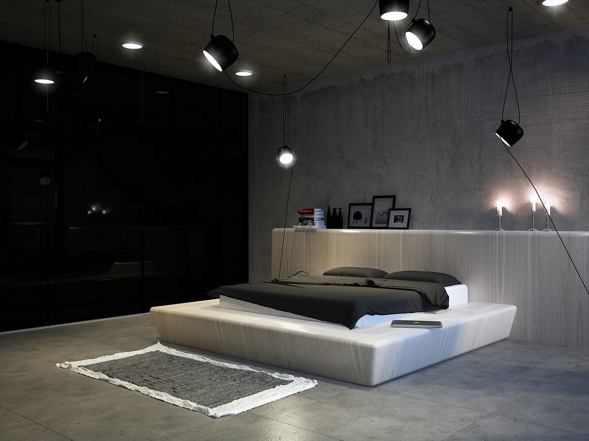 modern bedroom with perfect lighting