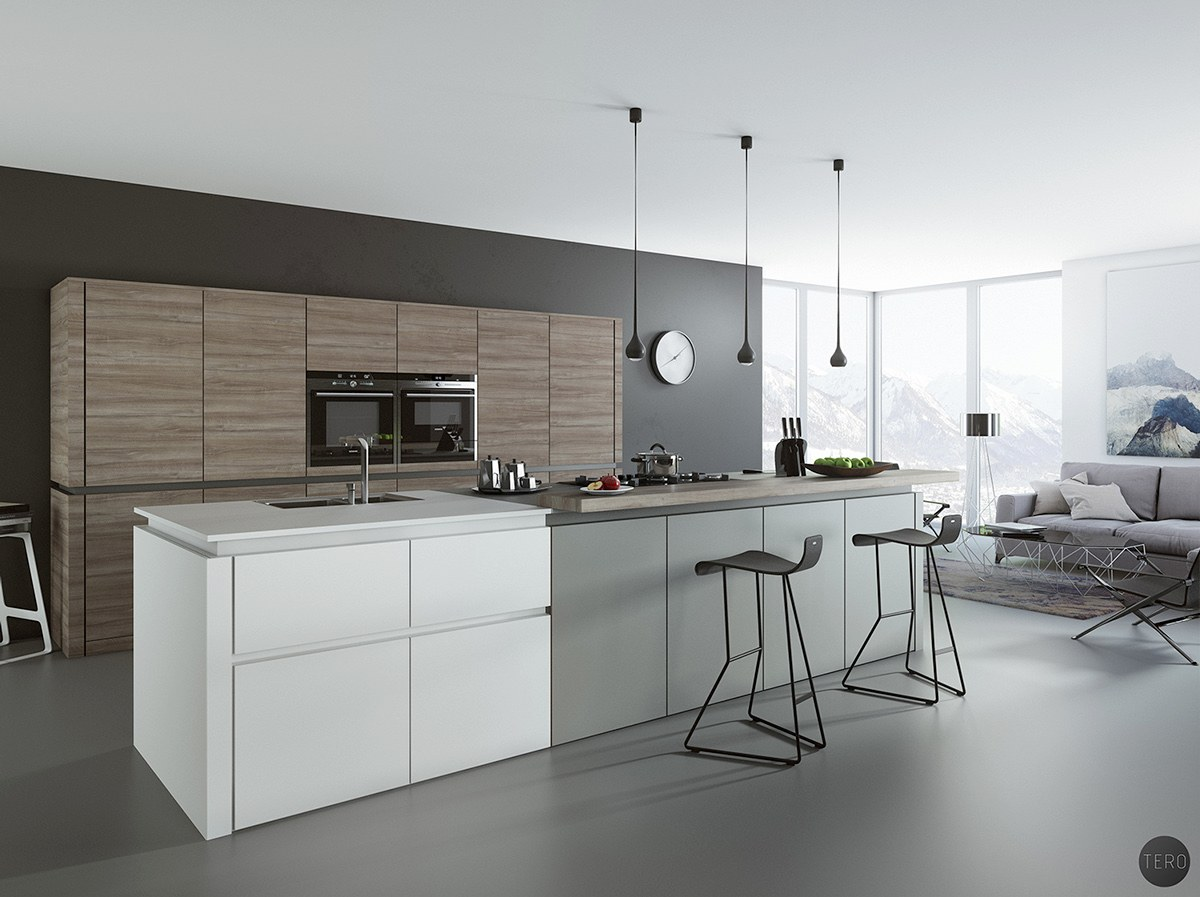 trendy white and gray kitchen
