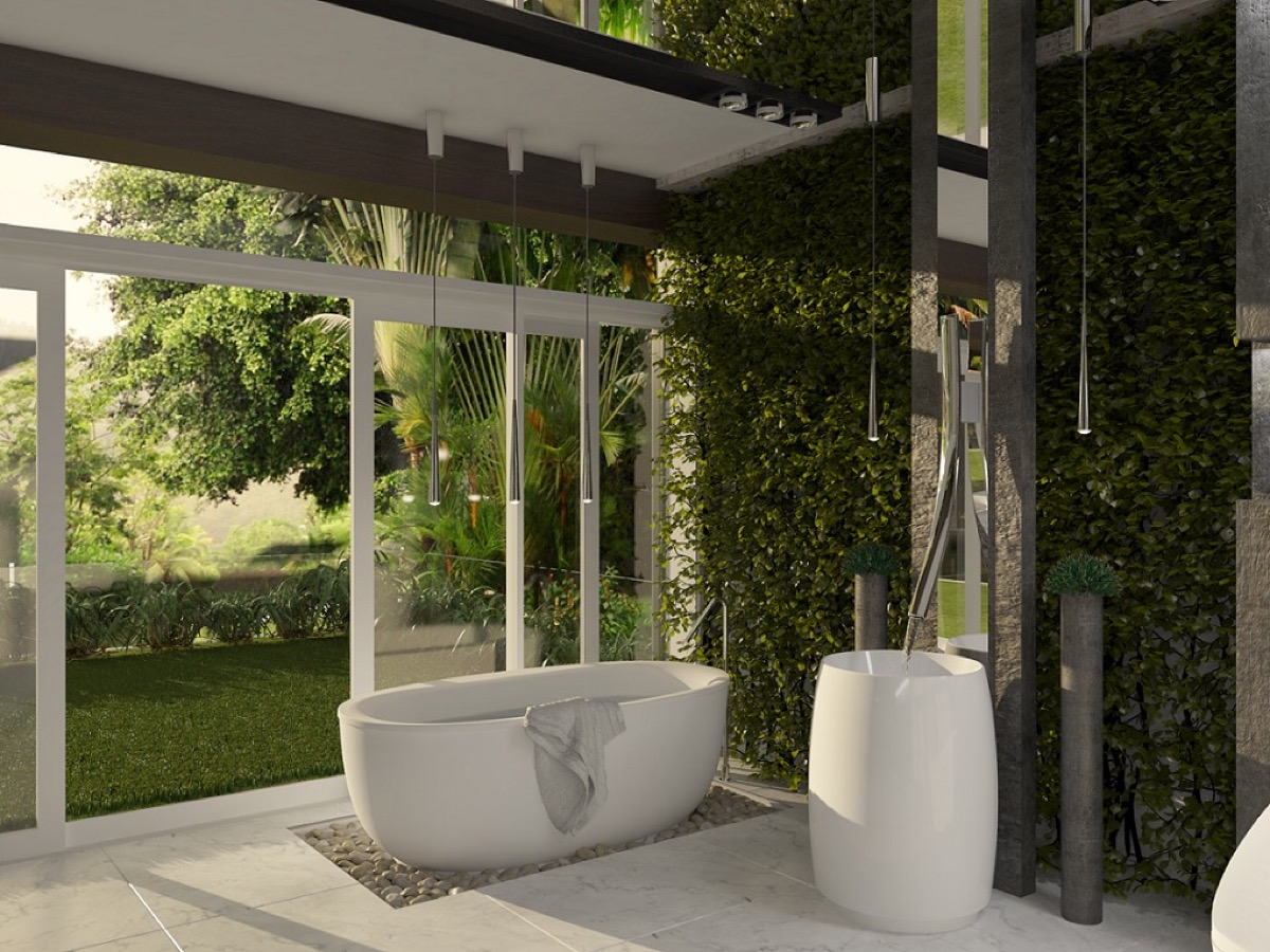 bathroom design with natural plant