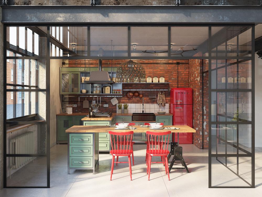 gray vintage kitchen set design