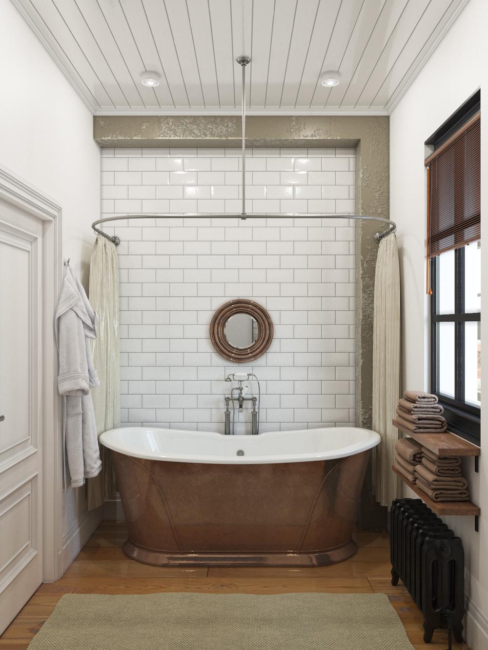 white brick bathroom design