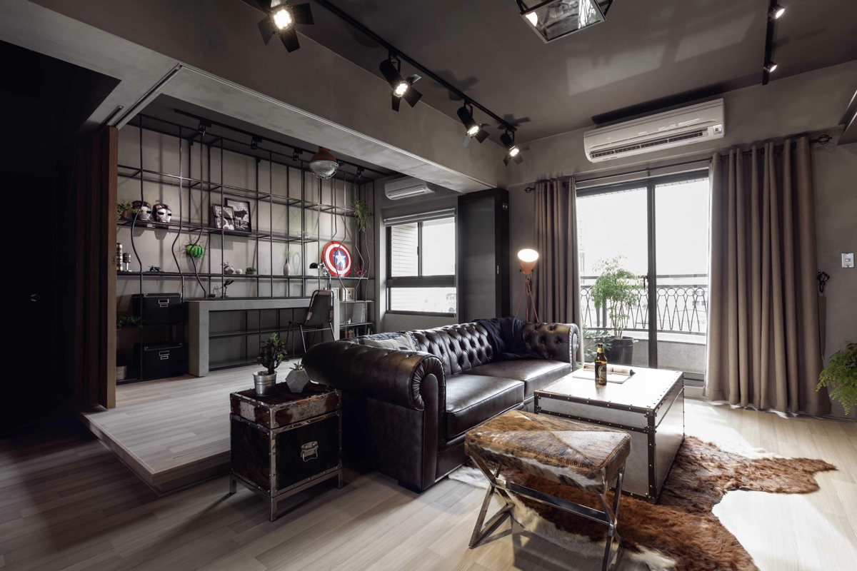 modern bachelor's living room design