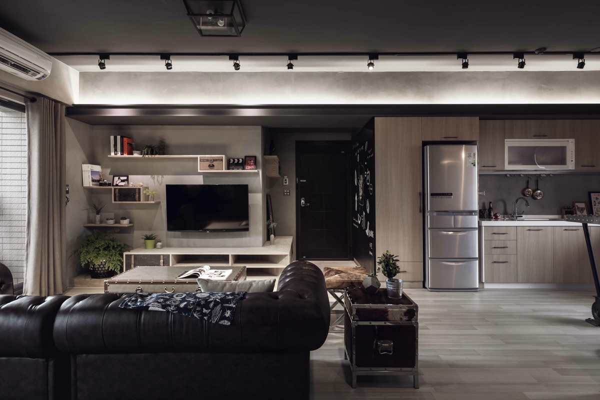 dark living room concept design