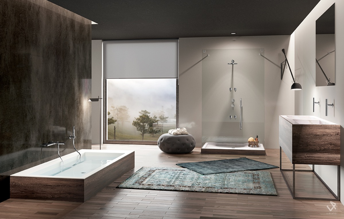 trendy gray bathroom deisgn