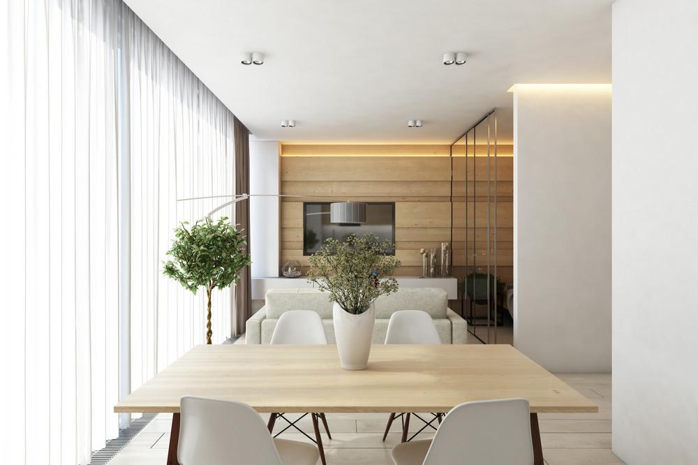 white minimalist dining room