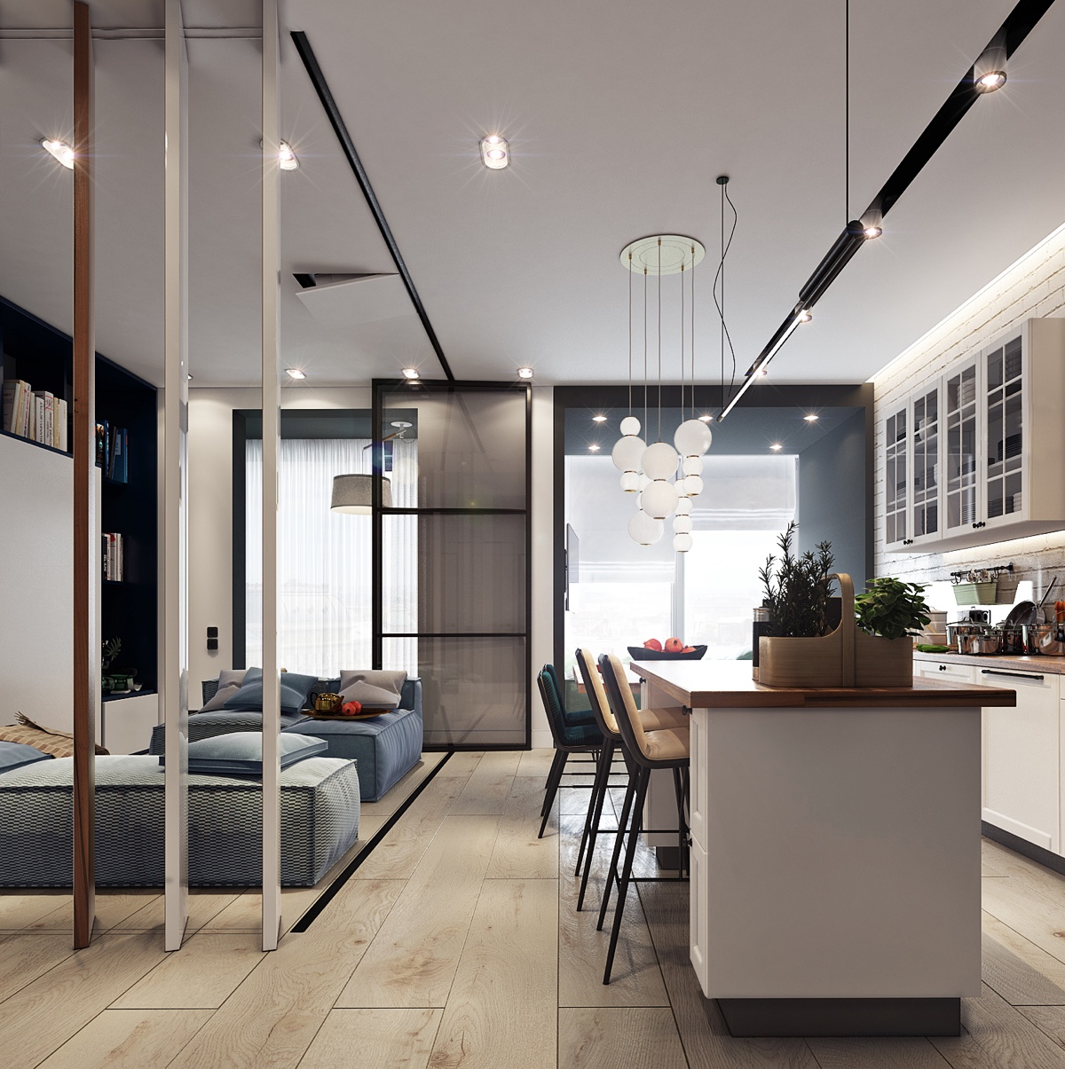 Beautiful studio apartment designs combined with modern for Modern apartment kitchen design