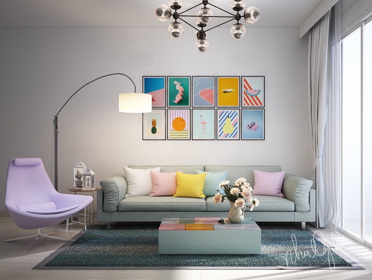colorful art wall living room