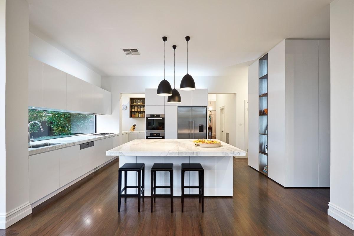 white wooden kitchen design