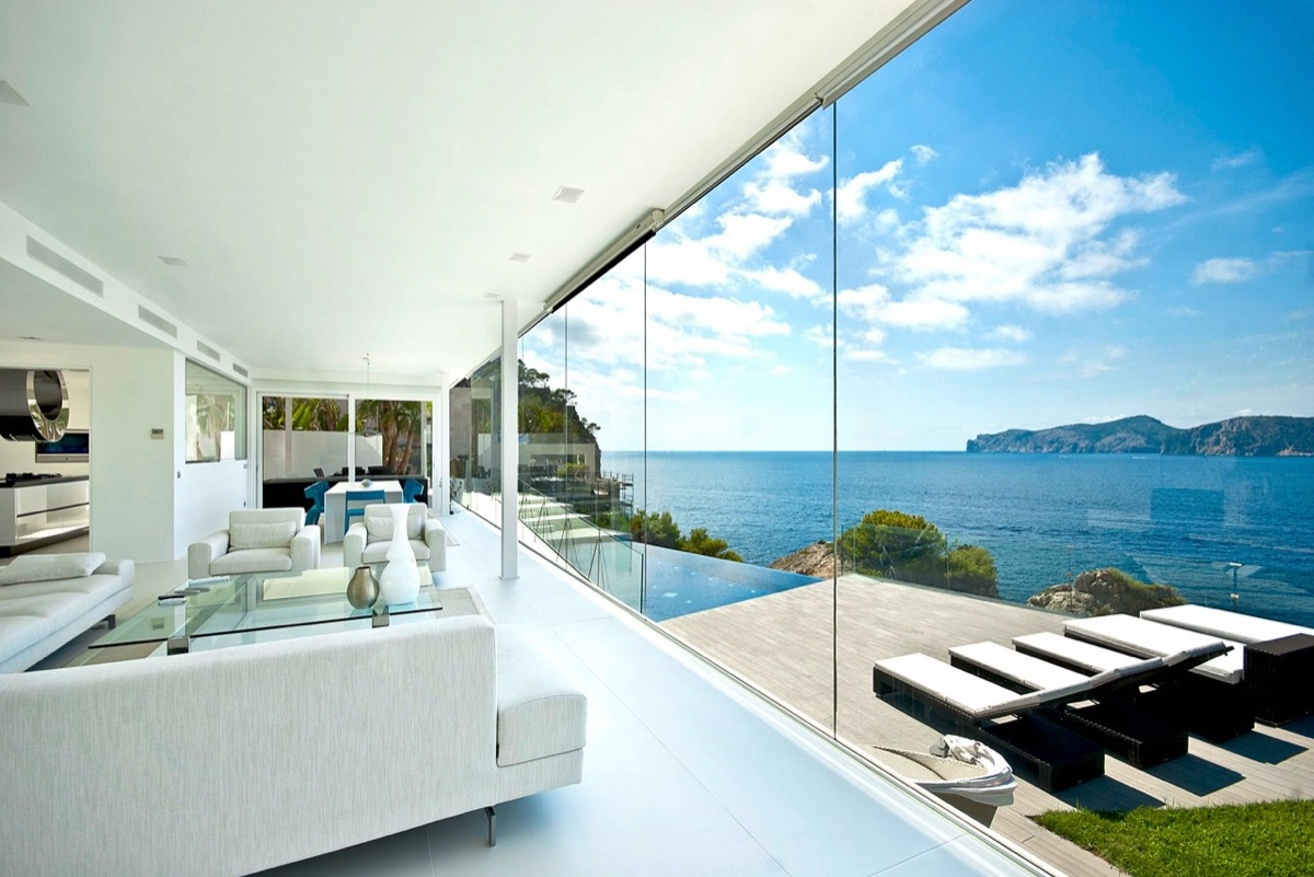 spacious living room with beautiful view