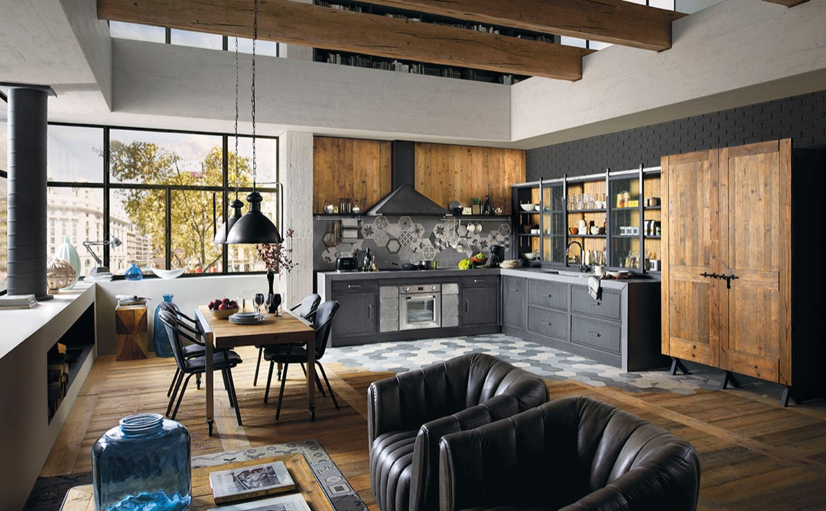 gray industrial kitchen design