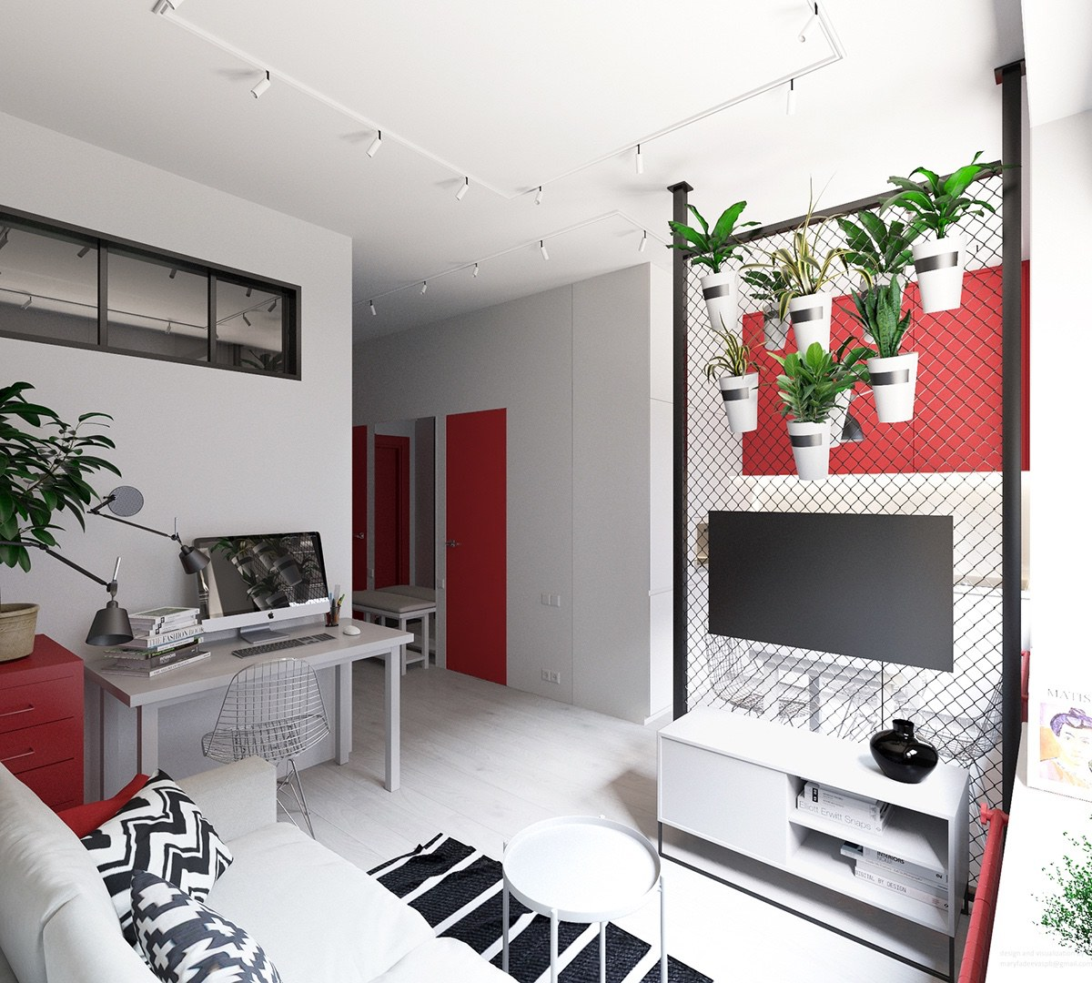 white and red apartment decor