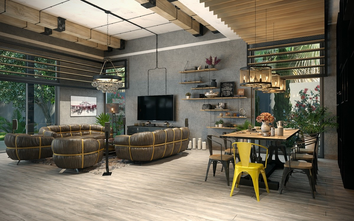 types of industrial loft apartment designs which applied with vintage and stylish decor ideas. Black Bedroom Furniture Sets. Home Design Ideas