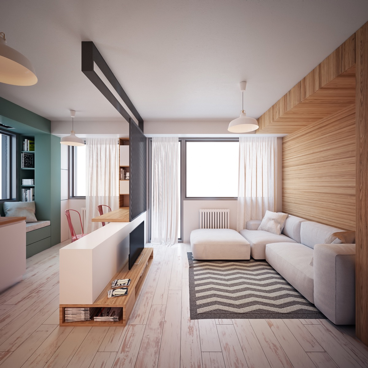 simple wooden living room design