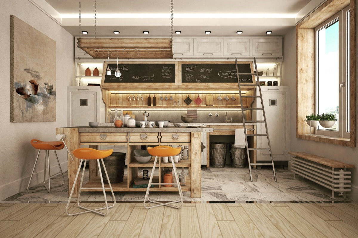 wooden industrial kitchen design