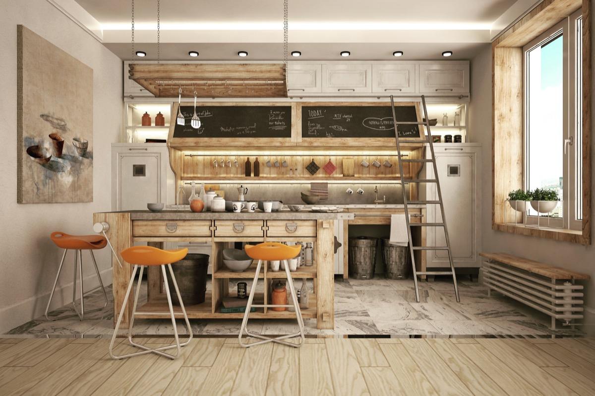 wooden industrial kitchen design