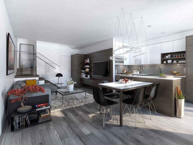 white minimalist open plan apartment