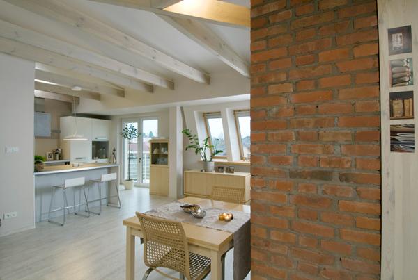 loft apartment design exposed a brick