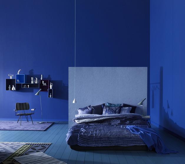 blue color swedish bedroom design