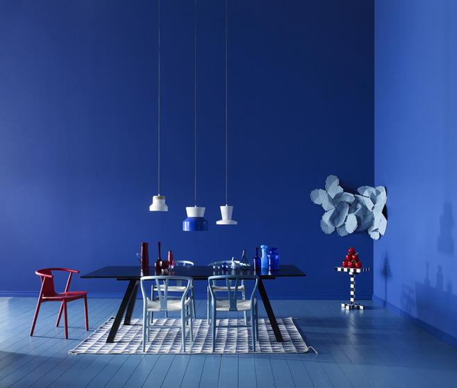 blue color dining room design