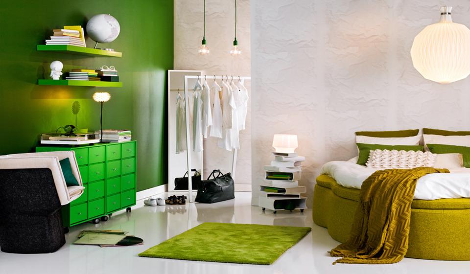 white and green swedish interior