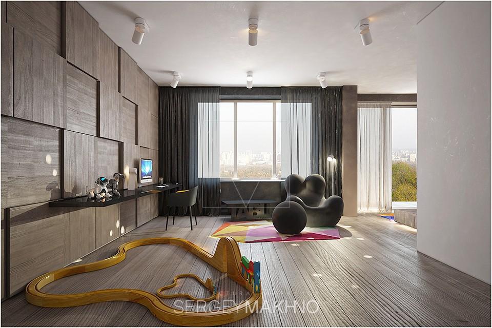 Trendy studio apartment showcases a sleek design which ...