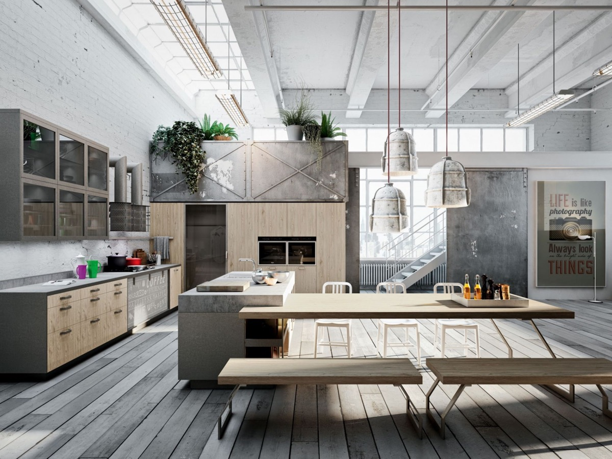 Industrial kitchen designs applied with fashionable decor ideas ...